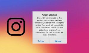 Action Blocked In Instagram