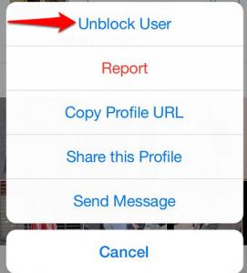 unblock an Instagram user
